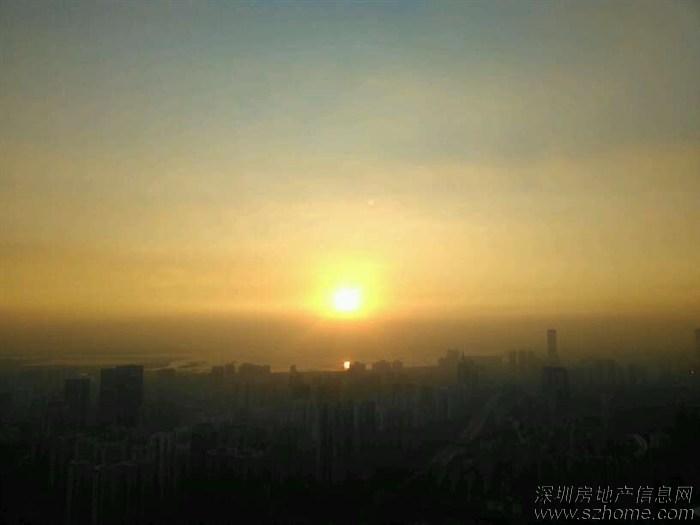 冬季夕阳,降落在深圳湾