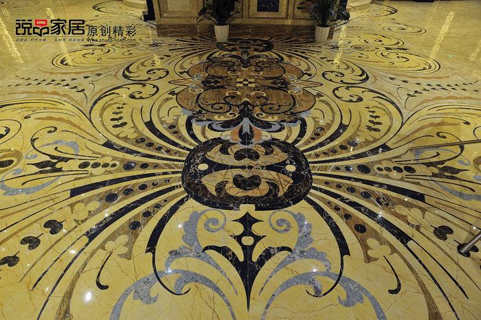 地面的大理石瓷砖拼花象炫彩额蝴蝶(使用简一大理石瓷砖众多