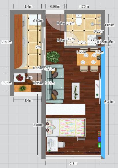 龙海家园c2单公户型装饰设计效果(胖虫子)