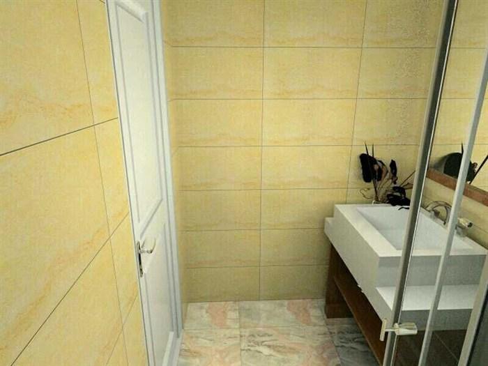 首先洗手间,墙面用的是瓷砖,地面用的是防滑砖.