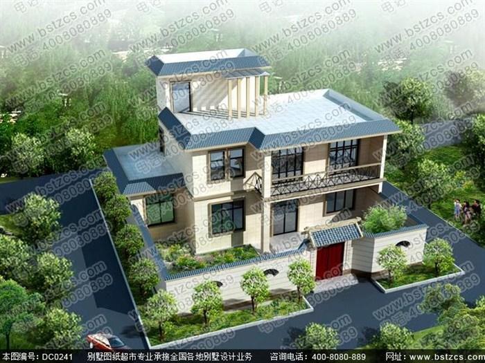 15米×10米二层半平顶农村自建房设计图纸_鼎川别墅图纸超市