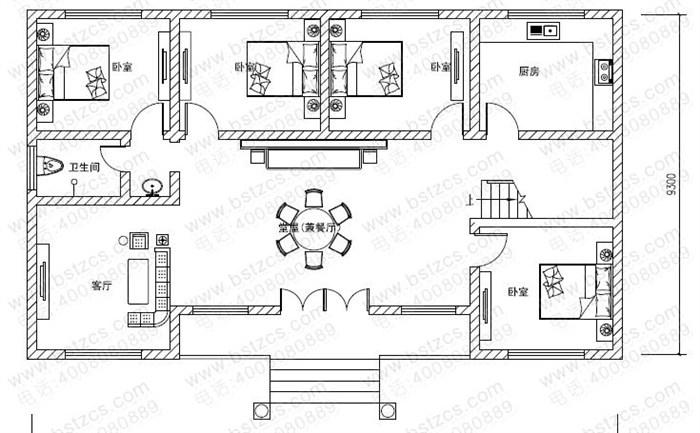 16米9米农村一层平房设计图带阁楼及效果图