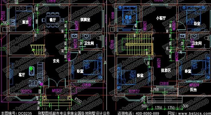 10米×10米二层现代乡村小别墅设计图纸带阳台_鼎川别墅图纸超市