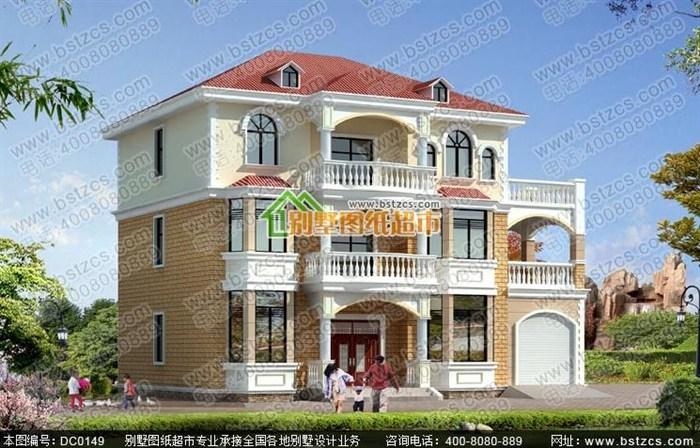 3米三层现代风格农村别墅设计全套图纸带