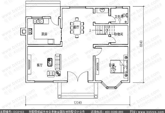 12米×9米二层造价20万农村房屋设计图纸_鼎川别墅图纸超市