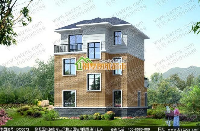 80平方米三层现代新农村 别墅 全套效果图施工图