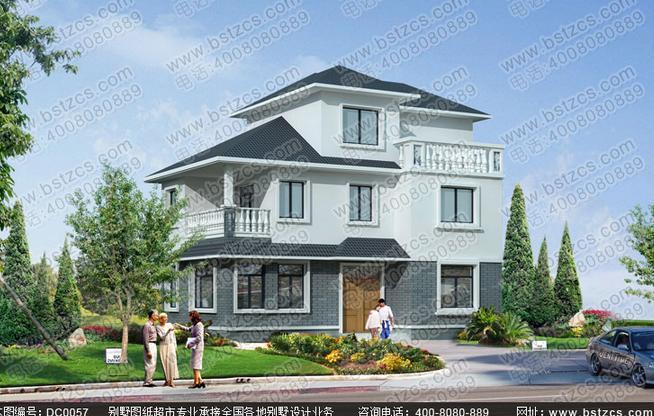 造价20万90平方米三层农村自建房全套施工图纸_鼎川别墅图纸超市