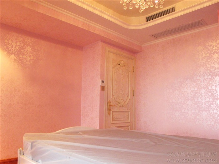 浅粉色的墙面,欧式的花纹