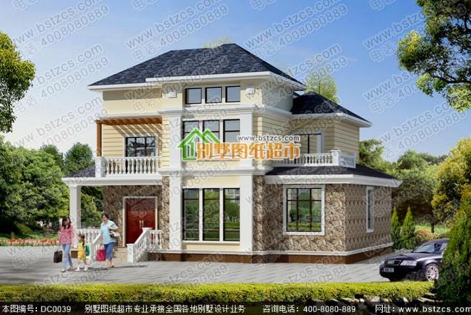 150平方米三层框架结构农村别墅全套效果图纸
