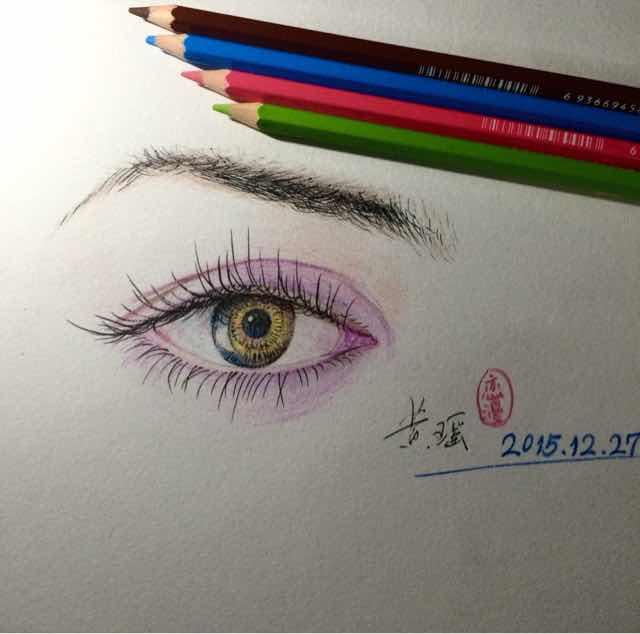 彩铅眼睛素描——美丽眼眸 恋漫hyao现在直播步骤