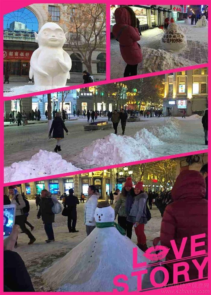 """小雪人精巧可爱,动画片里的人物也""""进驻""""了中央大街"""