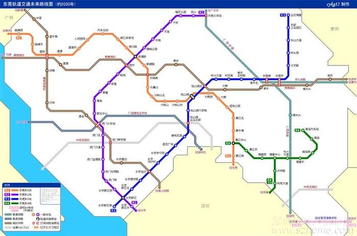 东莞地铁线路图,目前已经建成的是r2
