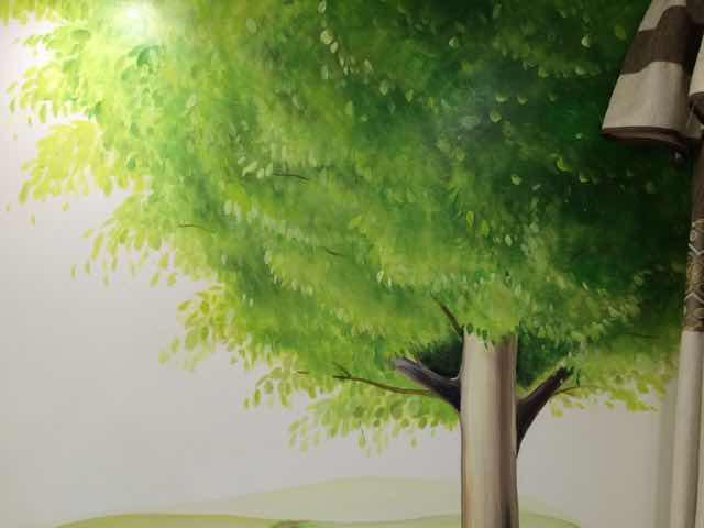 手工手绘:插画惬意清新树木背景