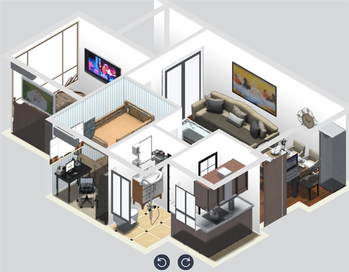 """""""家在""""设计团队之【龙瑞佳园户型效果图设计活动】——二房设计图"""
