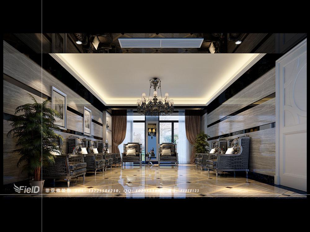 别墅-万科城御水湾 双拼别墅-欧式风格-灰白调-品酒室厅 装修效果图