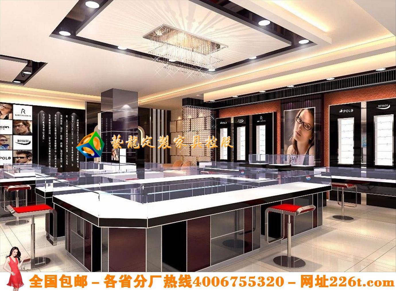 创意时尚眼镜店设计高档眼镜展示柜效果图韩版眼镜实体店装修图1201