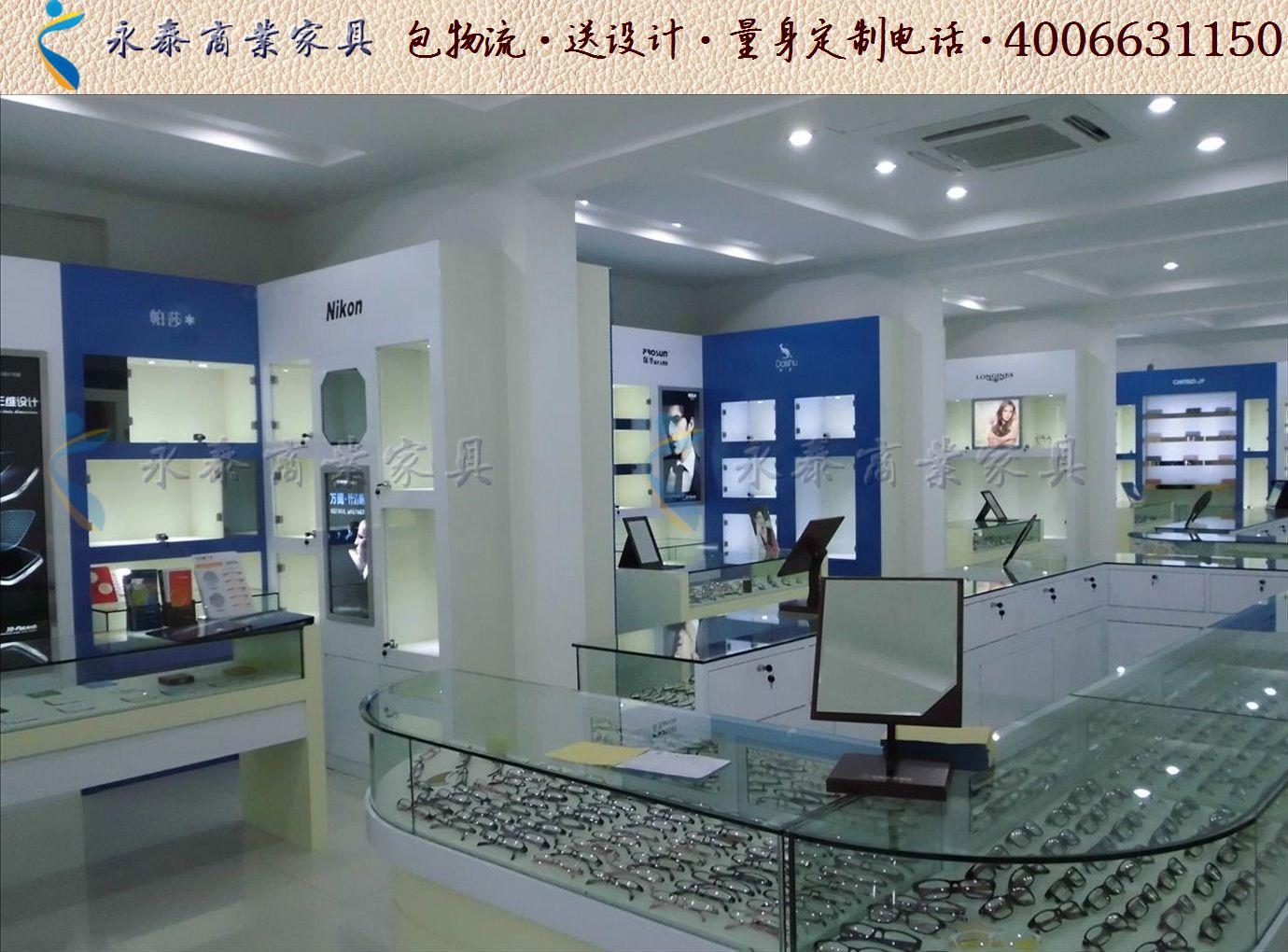 个性眼镜店装修展柜效果图大全时尚眼镜店装修货架展柜1207