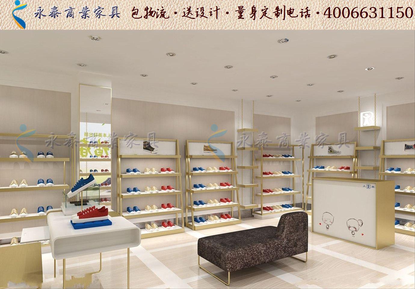 烤漆鞋店装修鞋架鞋柜效果图大全鞋店展示柜设计1210