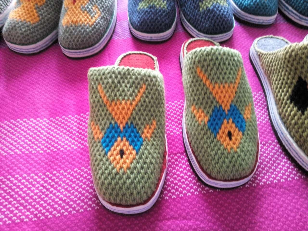 纯手工编织毛线拖鞋