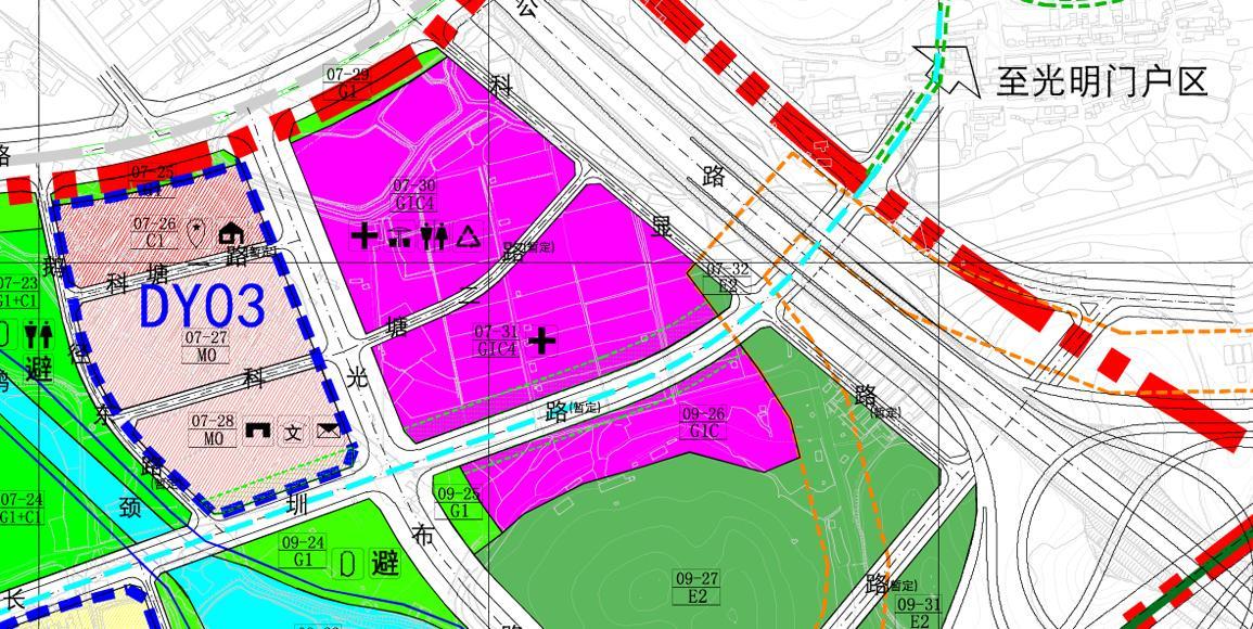 首先,龙大高速公路以东片区的功能定位是:延续北侧光明中心区功能,形成现代化配套与创新型产业协同发展的综合配套服务核心;龙大高速公路以西片区的功能定位是:产业战略发展片区,以生态旅游业和生态型产业为主,兼具休闲娱乐、配套服务功能。  规划结合轨道站点的建设,参照TOD的发展理念,在轨道站点周边500米范围内形成高强度、复合开发的商住配套核,提供高新园区缺乏的研发、金融、住宅、公寓、酒店、餐饮、商业休闲娱乐等产业及生活配套设施。(也就是地铁站旁会有完善配套设施) 规划居住人口规模7.