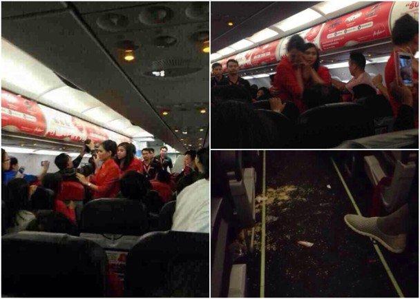 两名中国乘客向泰国空姐泼泡面致航班返航