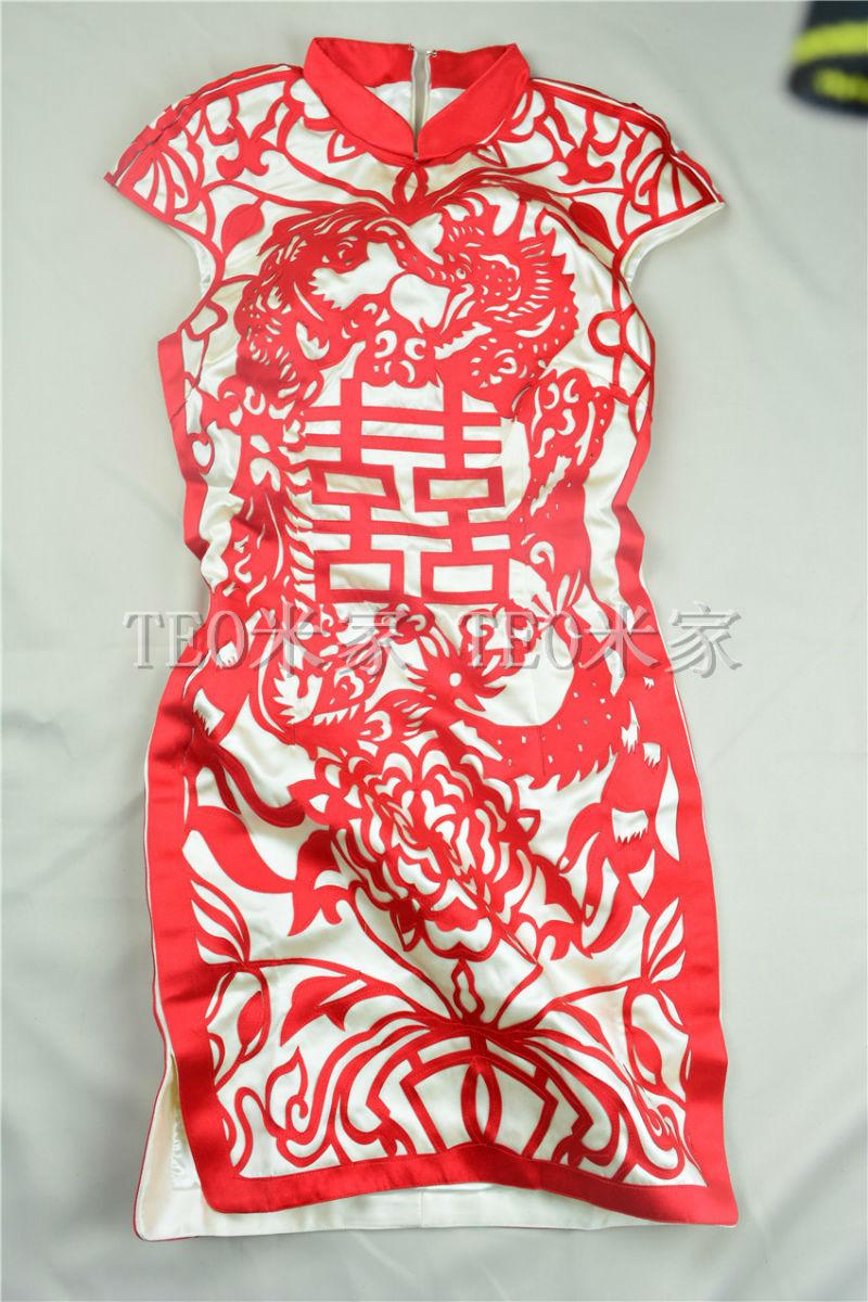 复古中国风喜字短款修身龙凤新娘结婚敬酒礼服婚礼红色旗袍