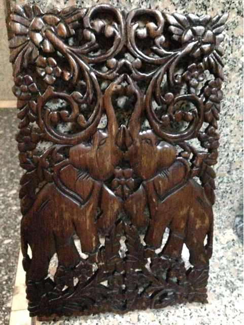 转让泰国木雕花长方形木框画玄关窗花
