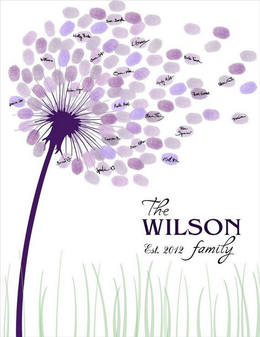 婚礼来宾签到处的独特创意,婚礼上设计一个指纹签到,让来宾留下指纹,组成一幅缤纷的祝福,为您和您的来宾享受个性和独特的互动,留下一个可以永远珍藏的美丽纪念品! 选择各自喜欢的颜色然后按压到树干之上,就像是突然开满了鲜艳的花朵一般。这样的互动方式不仅新颖温馨,更是世间独一无二的礼物,推荐给各位哦。 结婚的时候总有要准备那么一本厚厚的本子记录着结婚时的朋友亲人们,时间长了你们还能找到它吗? 传统的婚礼签到簿与其相比都弱爆了,这个指纹签到树既具创意,也是一份爱的艺术品!