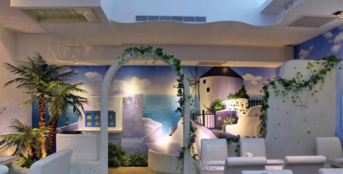 手绘地中海风格 电视背景墙画