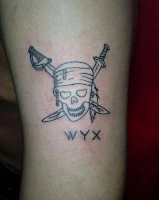 纹身大写字母加骷髅在图片