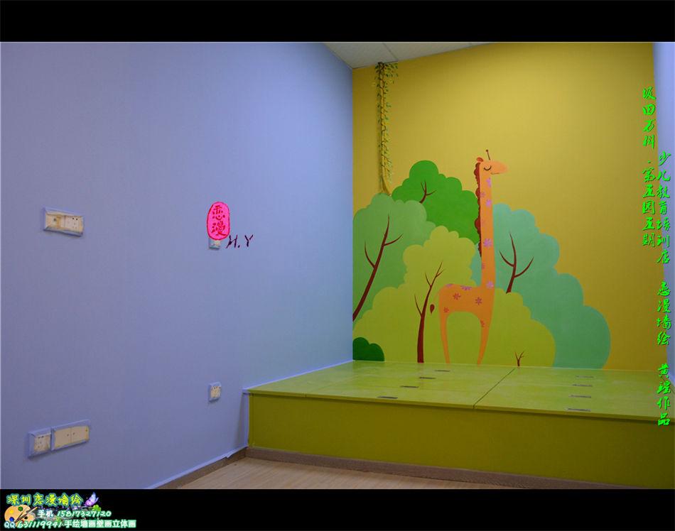 少儿教育培训店铺墙绘案例之卡通画漫画手绘墙画壁画作品