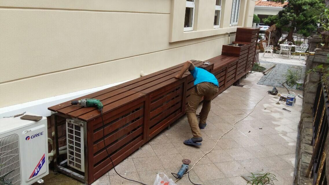 庭院空调防腐木设计