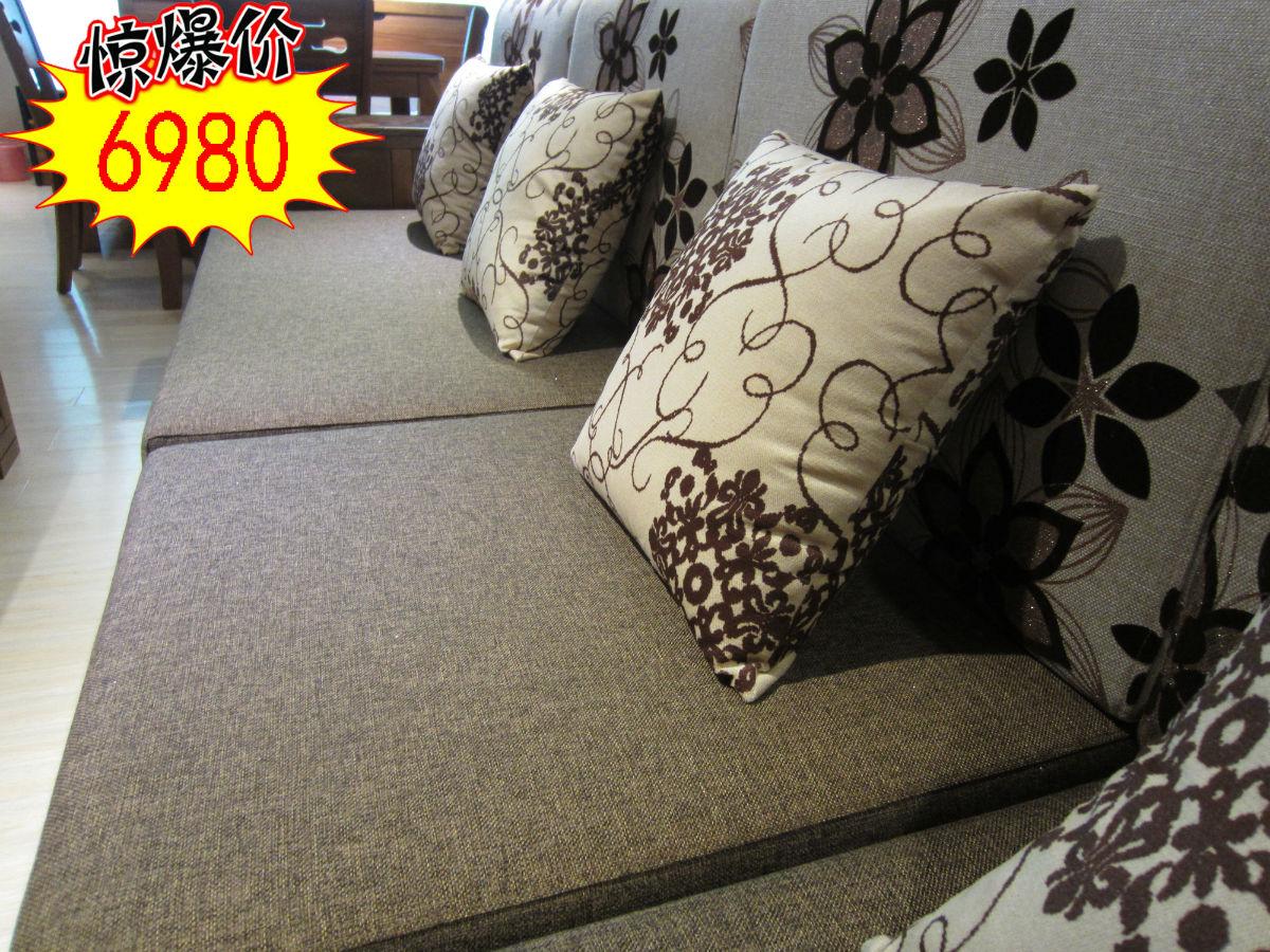 木加布艺沙发,全实木牡丹花人工雕刻