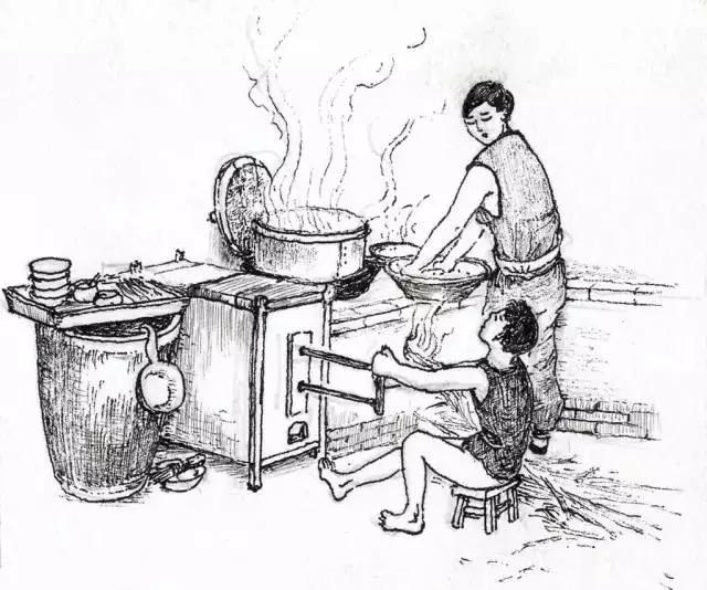手绘画柴火灶图片