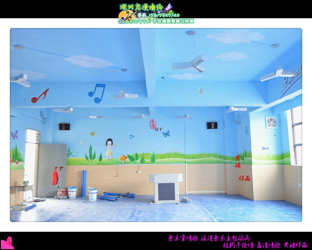 【视频】音乐室墙绘 浪漫音乐主题插画 校园手绘墙