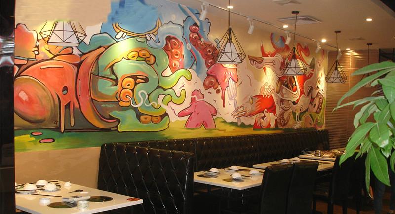 天逸墙绘之尚顶鲜自助火锅涂鸦手绘墙
