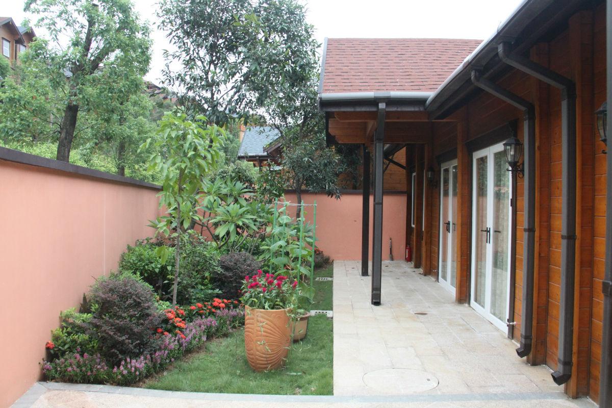 别墅后院,有个游泳池,还可以bbq