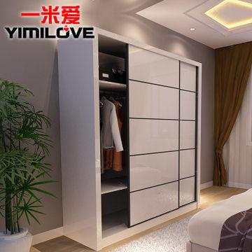 一米爱家具卧室整体衣柜 b416 简约移门衣柜推拉门 烤漆趟门大衣橱