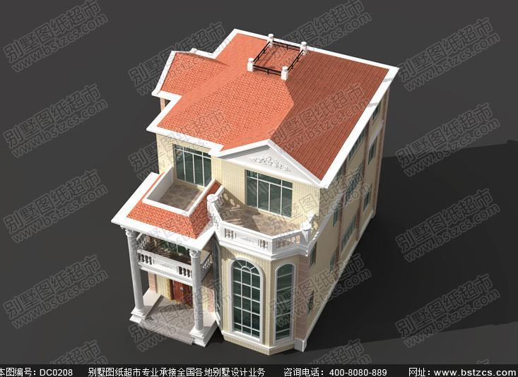 140平方米三层大门带罗马柱别墅设计图纸及效果图_鼎川别墅图纸超市