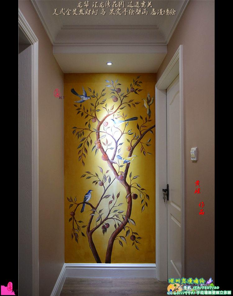 玄关过道艺术手绘,油画和壁画墙绘的运用