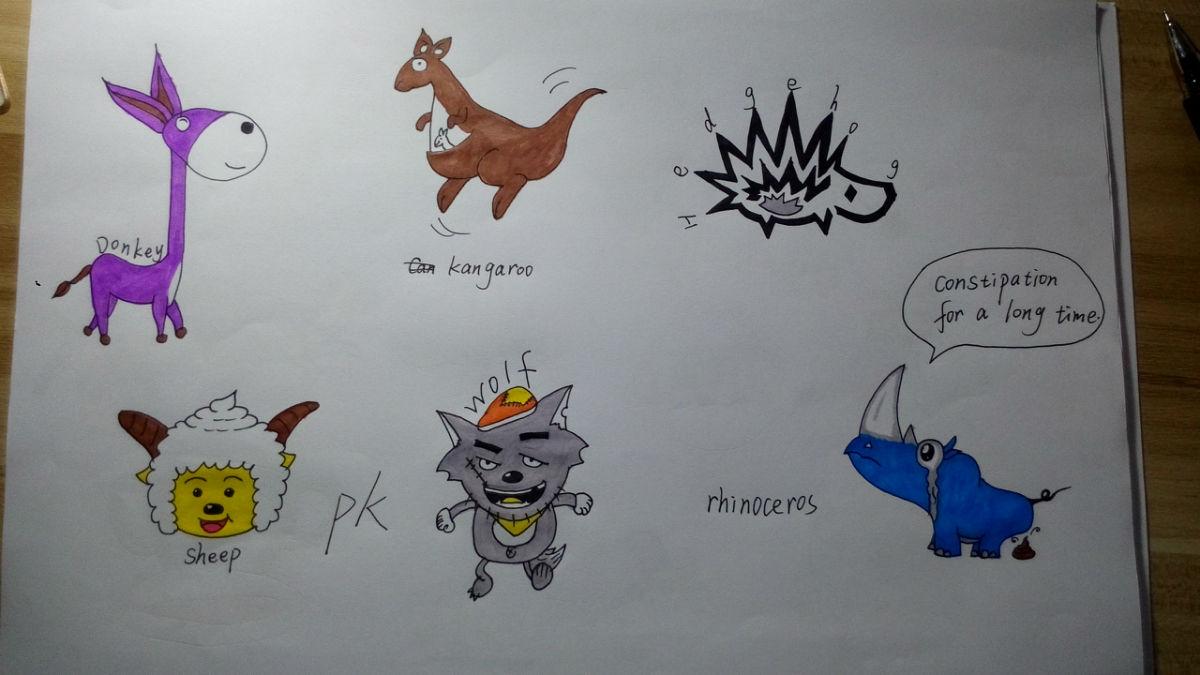 动物单词创意画