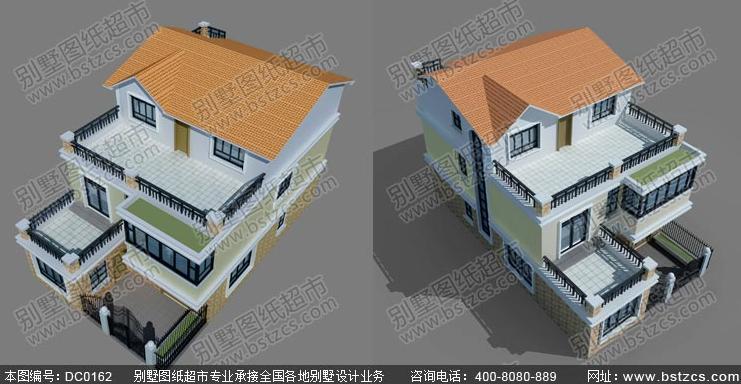 9米15米三层带院子现代风格农村房屋设计图及效果图