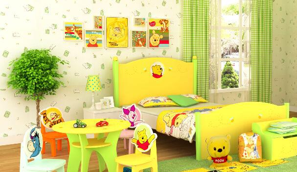 美合彩装膜生产厂家 (http://www.sjjzzpc.com)这周给大家分享儿童房卧室背景墙壁装修效果图案例!儿童房是家庭装修中很重要的一个环节,因为儿童房背景墙的装修设计对儿童的健康心理成长有着一部分作用! 下面哪些儿童房卧室背景墙壁装修适合你呢?  小熊维尼的卡通认为的背景墙壁的装饰效果,很可爱,更能体现小孩的童真!  背景墙上只有一副大型的温馨挂画设计的,体现了现代的简约美。  蓝天白云、还有椰树及飞翔的小动物让儿童房中充满了活跃的气氛。