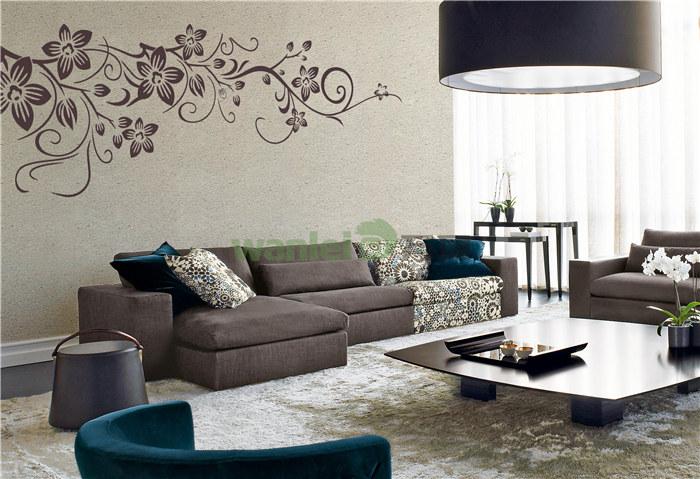 浅蓝色硅藻泥沙发背景墙和电视背景墙交相呼应