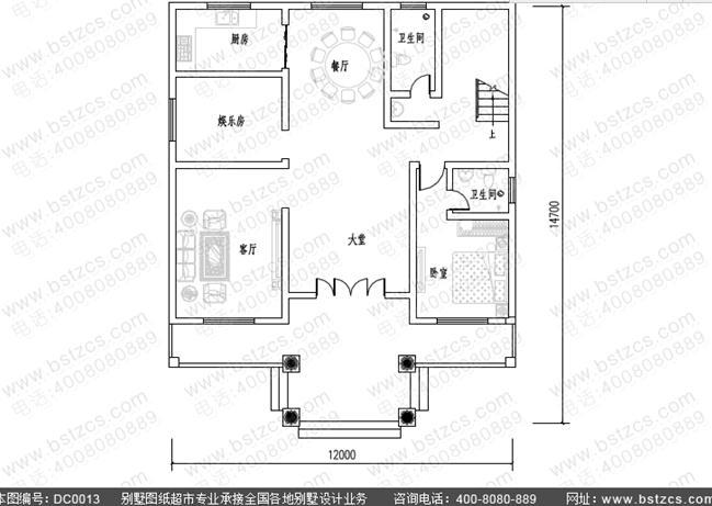 造价30万三层带大堂农村私人别墅设计图纸