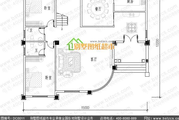 三层中空客厅大气欧式私人别墅设计全套图纸