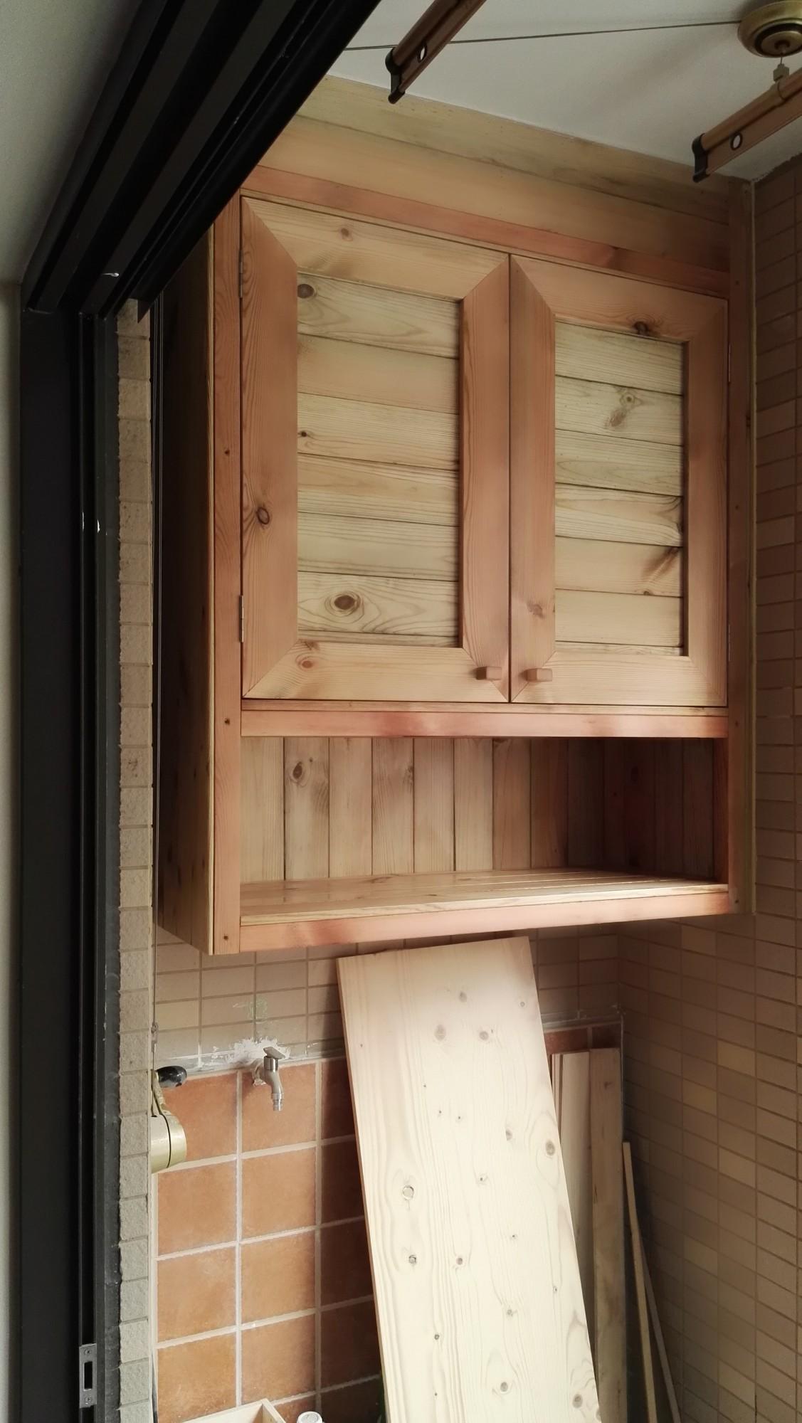 防腐木吊柜+空调柜