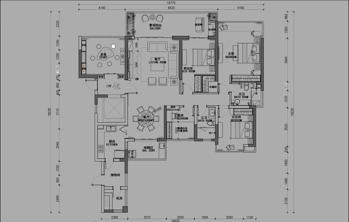 翡翠海岸5房两厅家装设计